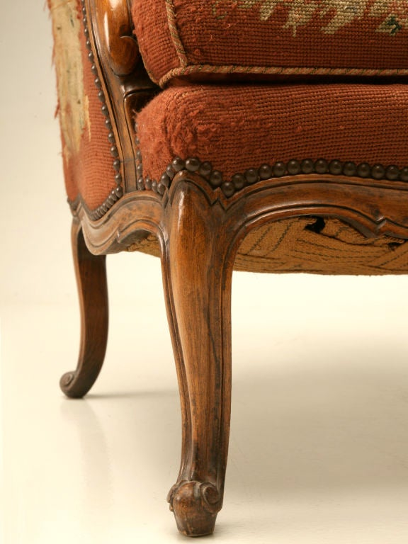 c.1900 French Needlepoint Louis XV Wing-Back Chair For Sale 6