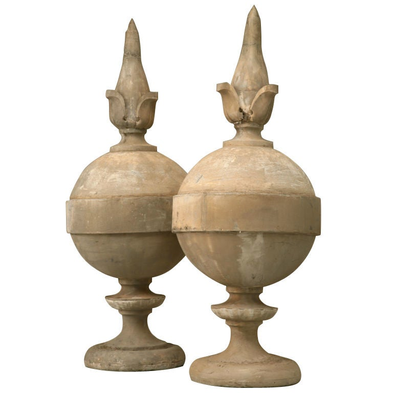 Pair of large architectural roof top sphere form finials