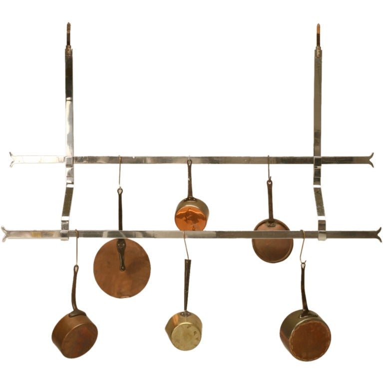 c.1930 Industrial Chrome Two-Tier Hanging Pot Rack at 1stdibs
