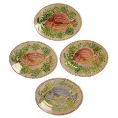 Set of 4 Vintage Italian Hand-Painted Fish Platters
