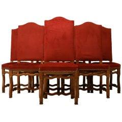 c.1930 Set of 8 Vintage French Oak Os de Mouton Chairs