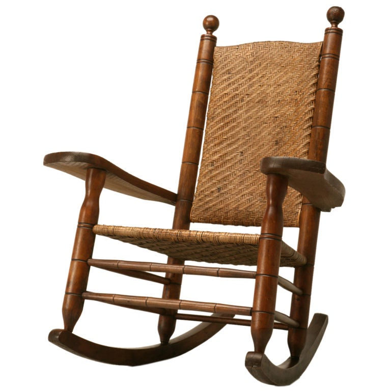 1900 Antique American Oak and Hickory Rocking Chair at 1stdibs