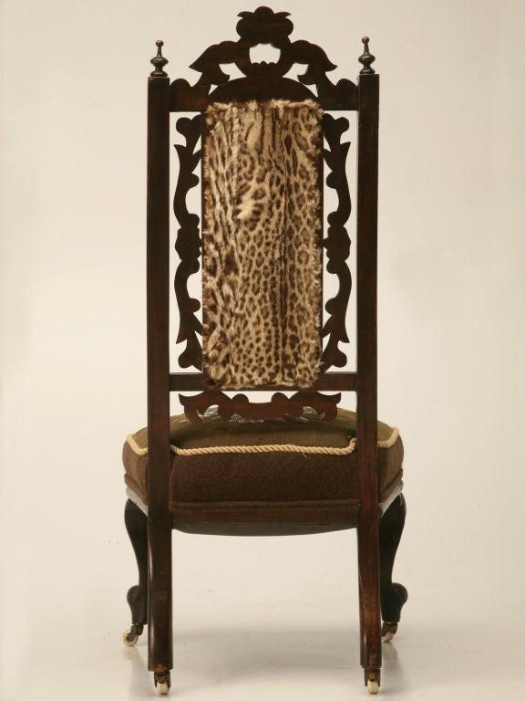 C 1870 English Victorian Ladies Hand Beaded Slipper Chair