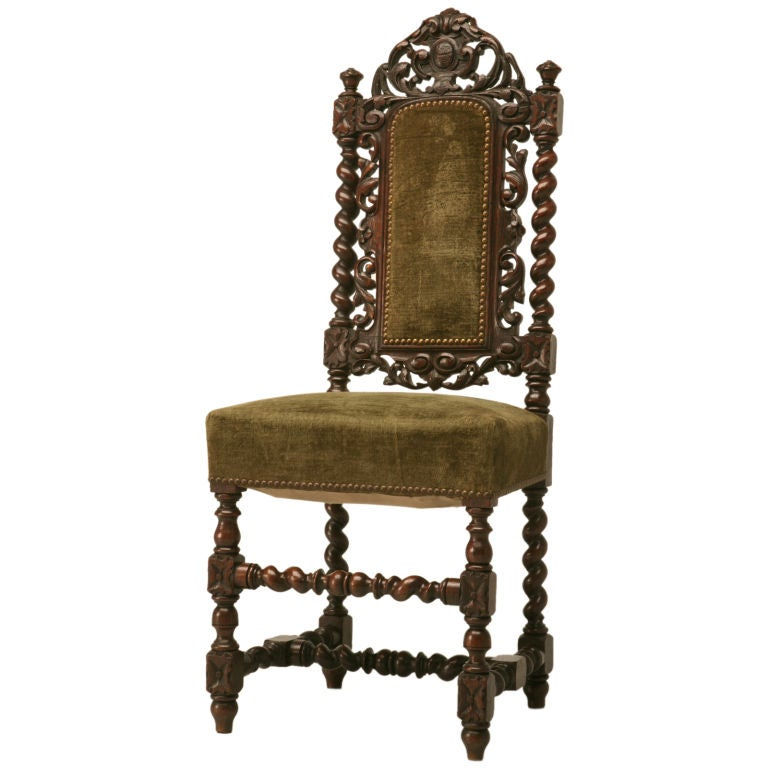 C.1900 French Hand Carved Oak Louis XIII Desk Chair 1