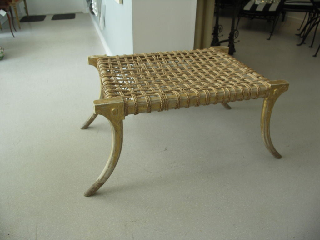 Gilt Wood Klismos Bench With Woven Details At 1stdibs