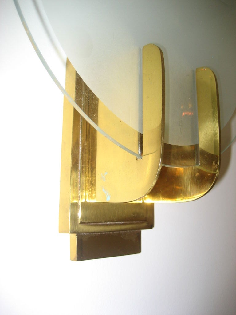 Art Deco Brass Wall Sconces : Pair of Art Deco Brass and Glass Sconces at 1stdibs