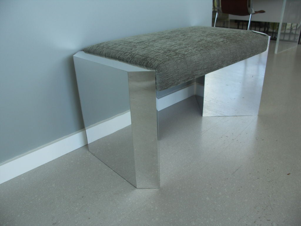 Pair Of Chrome Mirrored Benches At 1stdibs