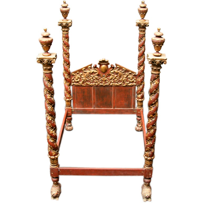 Italian baroque style four post bed at 1stdibs for Baroque style bed