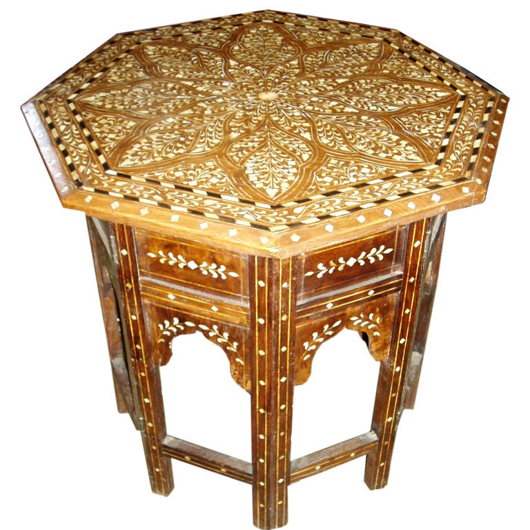 Octogonal Inlaid Wood End Table At 1stdibs