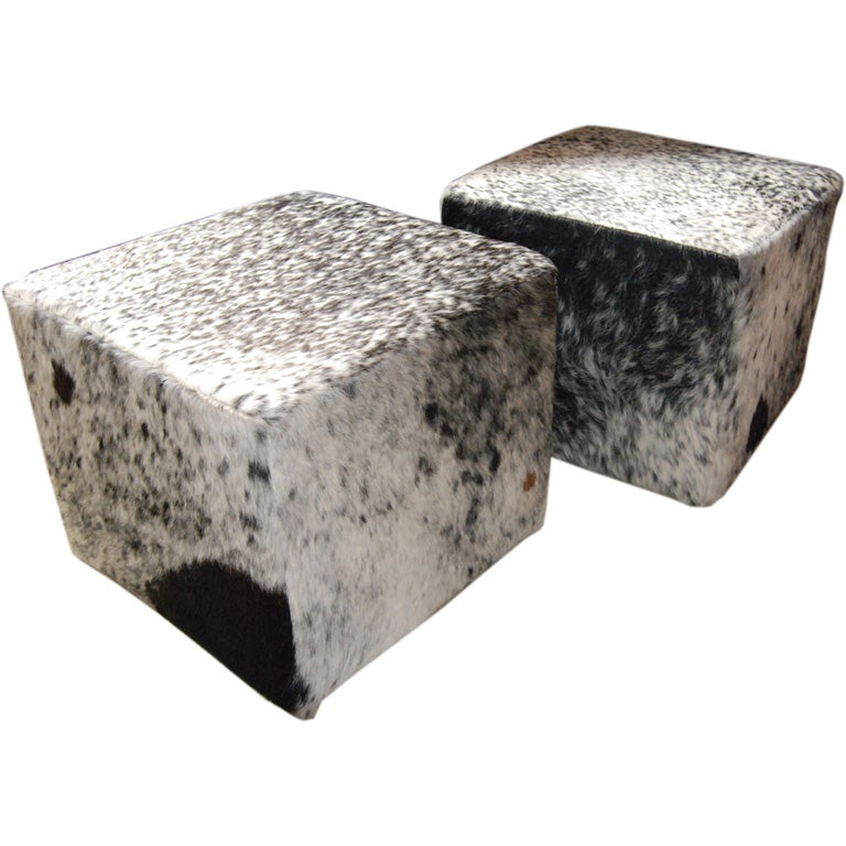 Pair Of 1950 S Cowhide Ottomans At 1stdibs