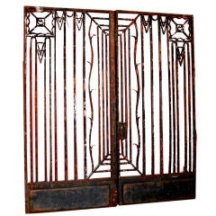 Pair Of French Wrought Iron Gates With Transom
