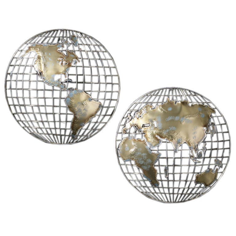 curtis jere metal globe wall sculpture at 1stdibs