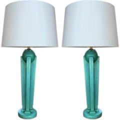 Art Deco Skyscraper Table Lamps, Pair