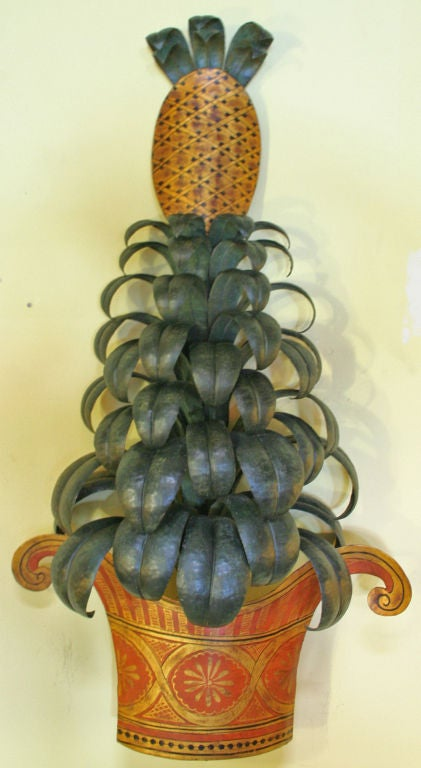 Pineapple Plant Painted Tole Sconce at 1stdibs