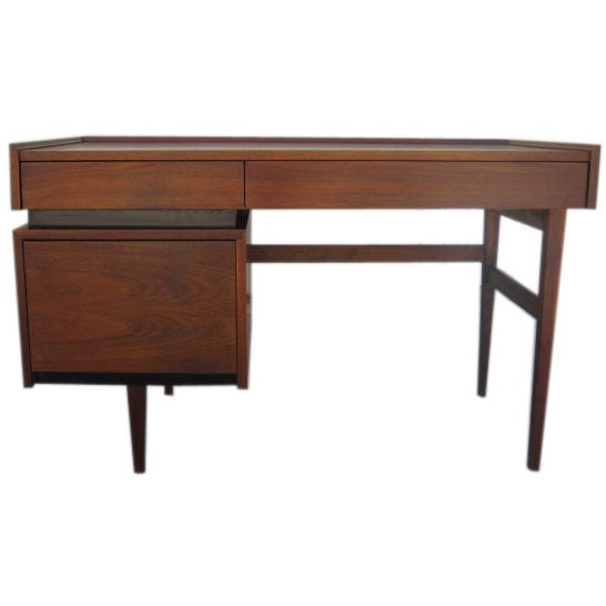 American Walnut Single Pedestal Desk by Dillingham after Dunbar