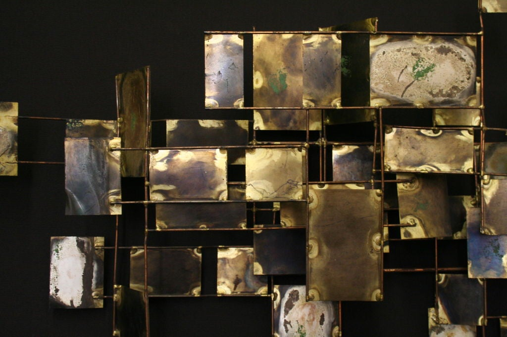 A Bronze Rod And Brass Sheet Wall Sculpture By Curtis Jere