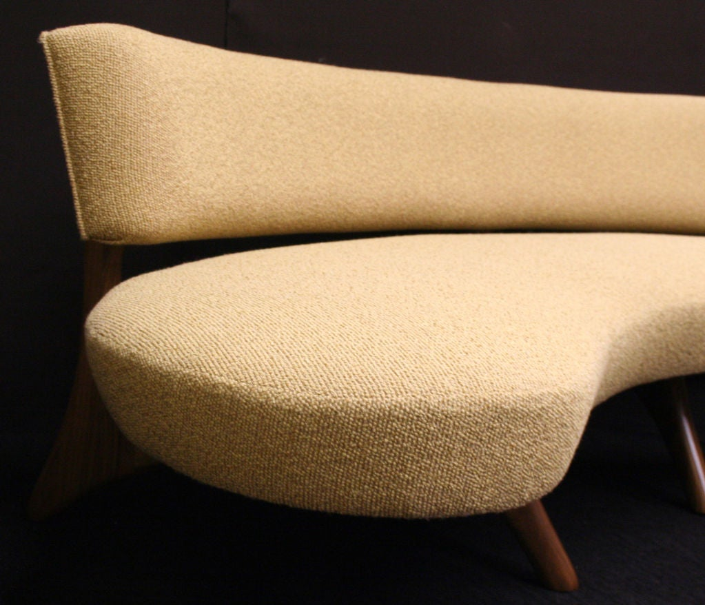 Curved Floating Sofa: Floating Curved Sofa On Elegant Carved Base At 1stdibs