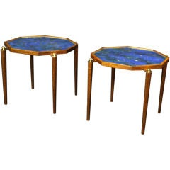 A Pair of Reverse Painted Glass Octagonal Occasional Tables