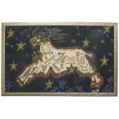 Framed Jean Lurcat Tapestry of a Ram On a Background of Stars