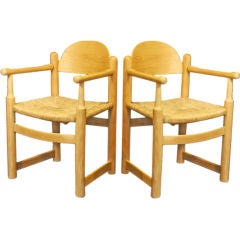 Set of Eight  Oak and Rush  French Armchairs