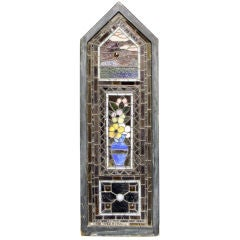 Tall Leaded Stained Glass Window With Floral and Sunset Motif