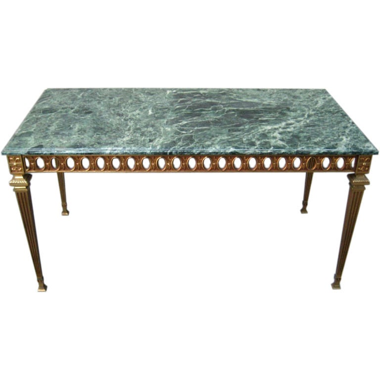 NeoClassical Italian Brass Coffee Table With Marble Top At