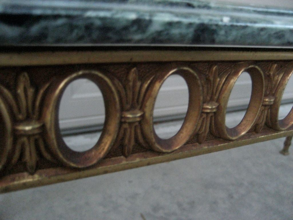 NeoClassical Italian Brass Coffee Table with Marble Top 2