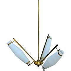 Brass and White Glass Italian Chandelier