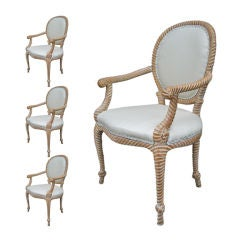 Exceptional set of Four Carved Rope and Tassel Armchairs