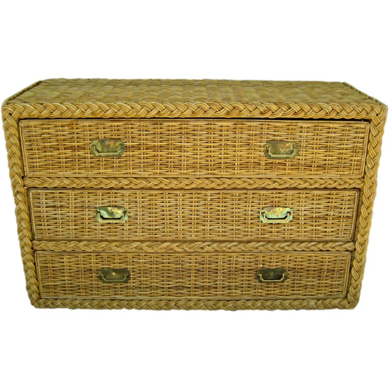 Superb wicker chest of drawers with brass hardware at stdibs