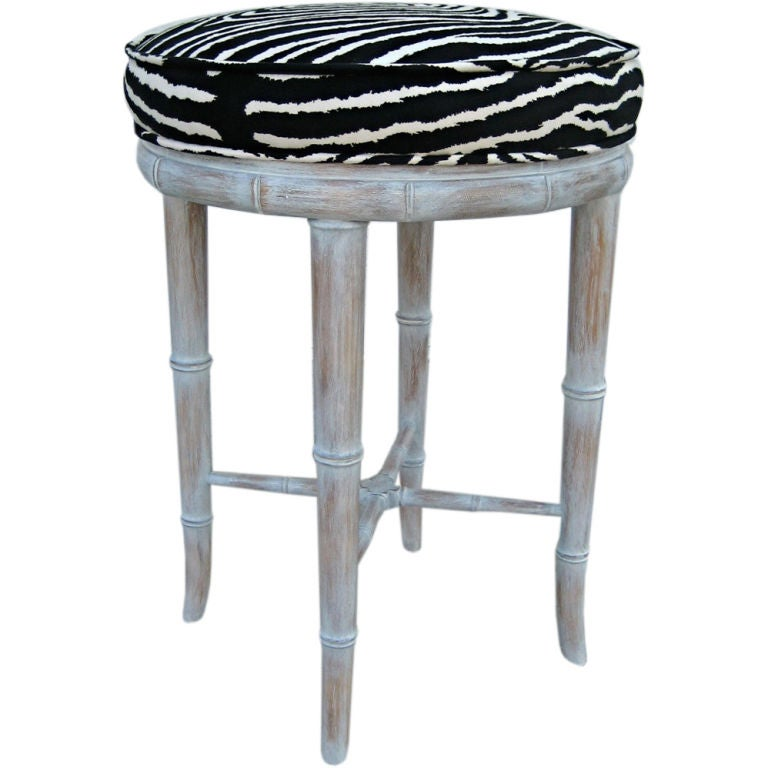Faux Bamboo Stool With Zebra Seat At 1stdibs