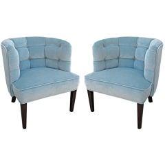 Pair of Tufted Velvet Barrel Back Slipper Chairs