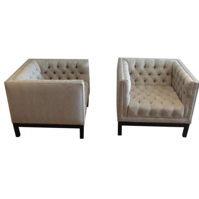 Pair of Cube Lounge Chairs at 1stdibs