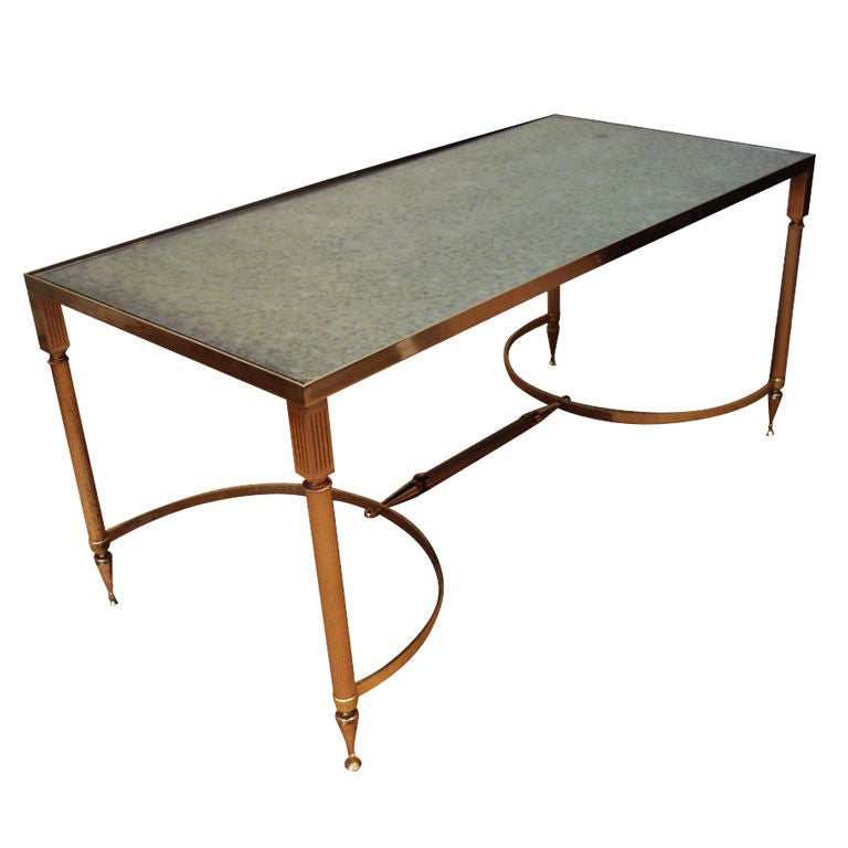 French Brass And Mirror Top Coffee Table At 1stdibs