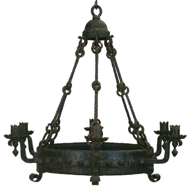 English arts and crafts period wrought iron 6 light for Arts and crafts chandelier