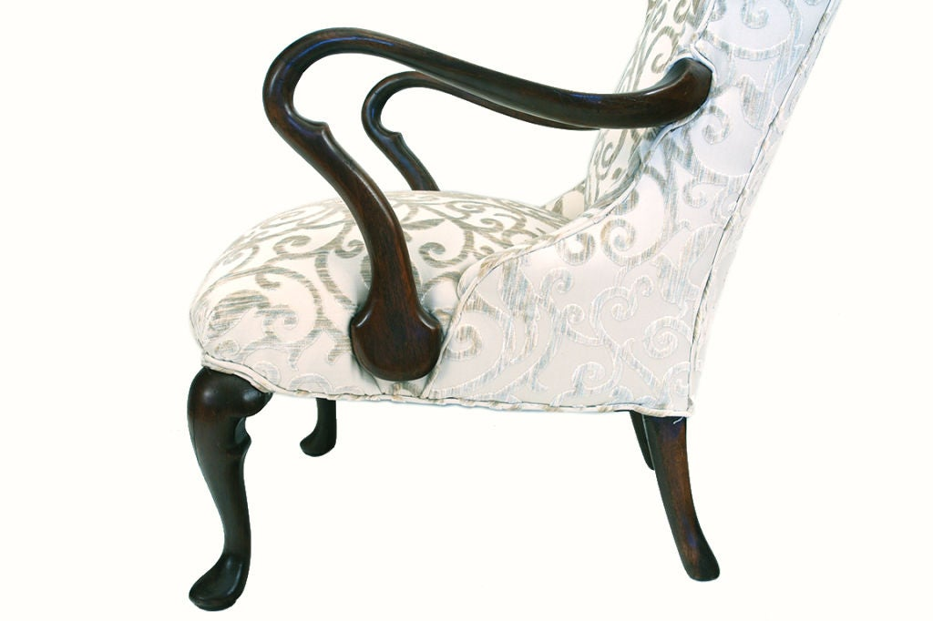 19th Century English Mahogany Queen Anne Style Open Armchair For Sale