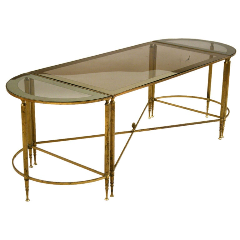 A gilt brass bagues 3 piece mirrored glass coffeetable at 1stdibs One piece glass coffee table