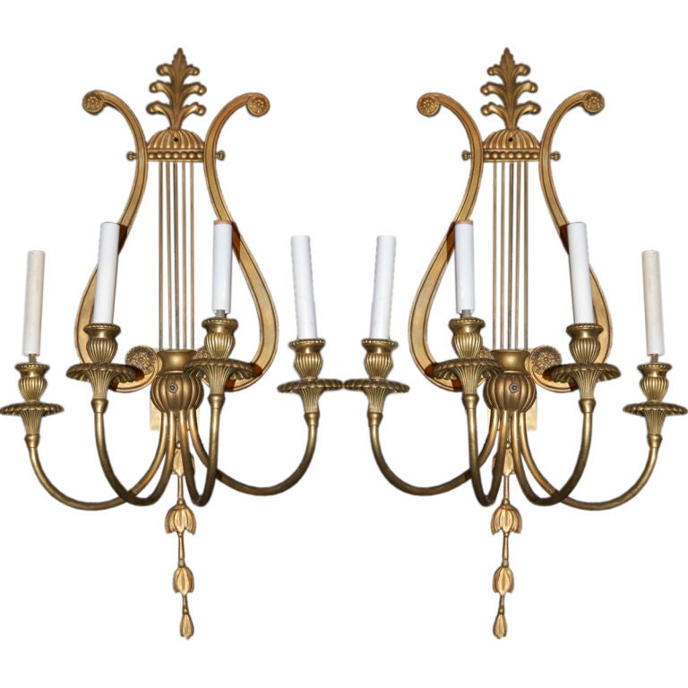 Pair of Caldwell Sconces with Lyre Shaped Backplate 1