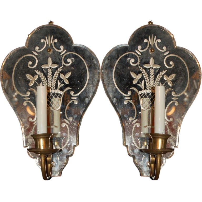 Pair of Venetian Mirrored Backplate Sconces, circa 1920s