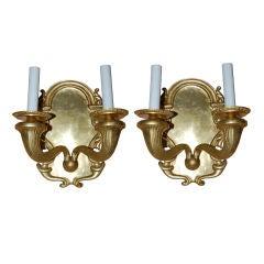 Pair of Double Light Gilt Bronze Sconces  ca 1920's
