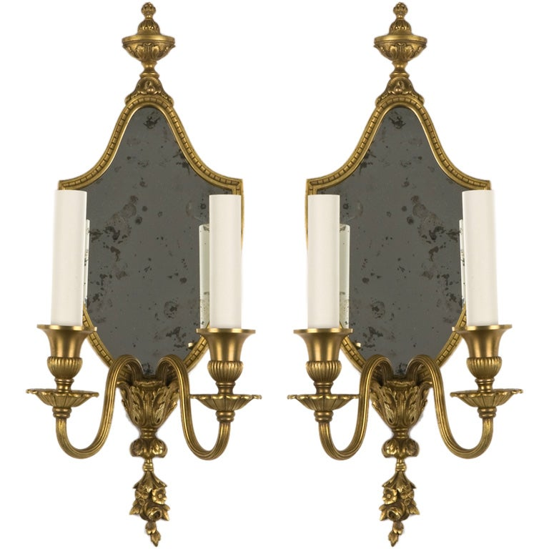Double arm antique sconces with mirrored backplates at 1stdibs
