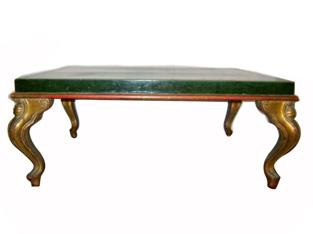 Gilt Wood Coffee Table With Leather Top At 1stdibs