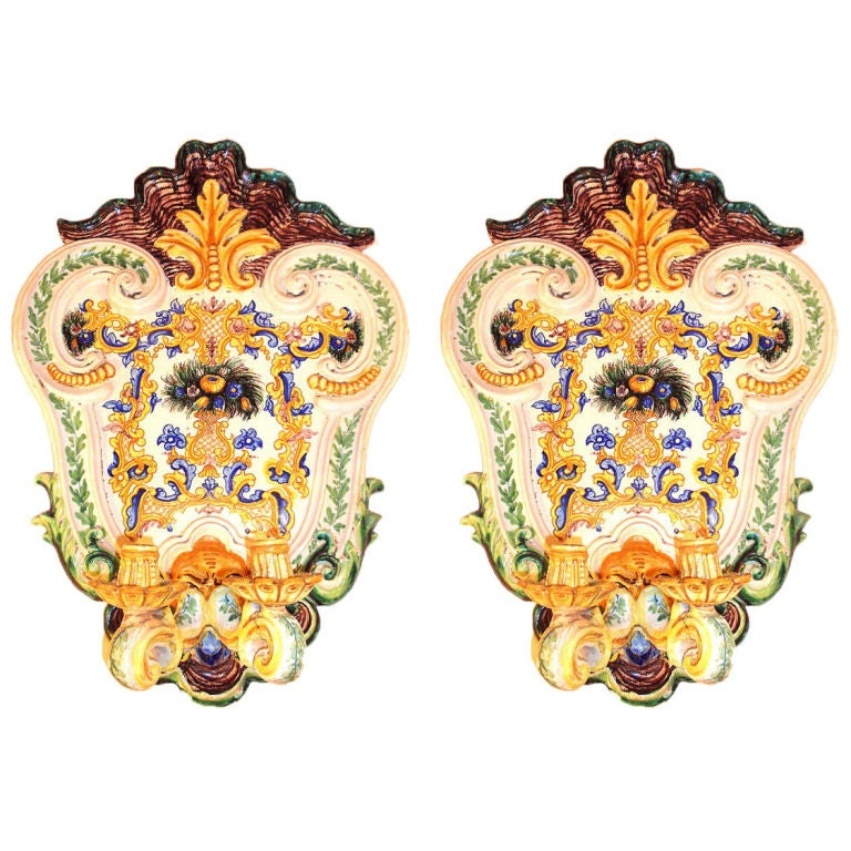Double Light Wall Sconces : Large Porcelain Double Light Sconces at 1stdibs