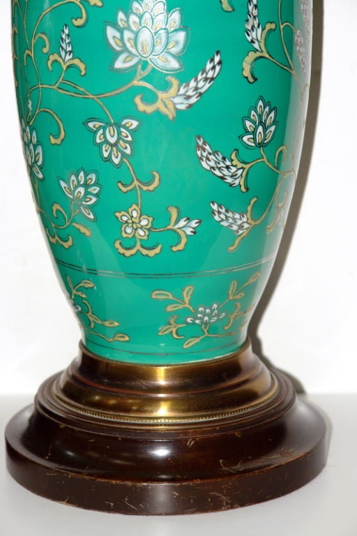 Italian Pair of Green Porcelain Lamps For Sale
