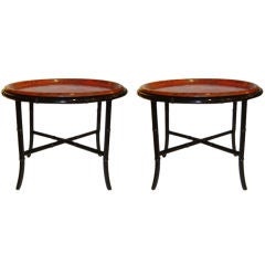 Pair of Bamboo Chinoiserie Side Tables