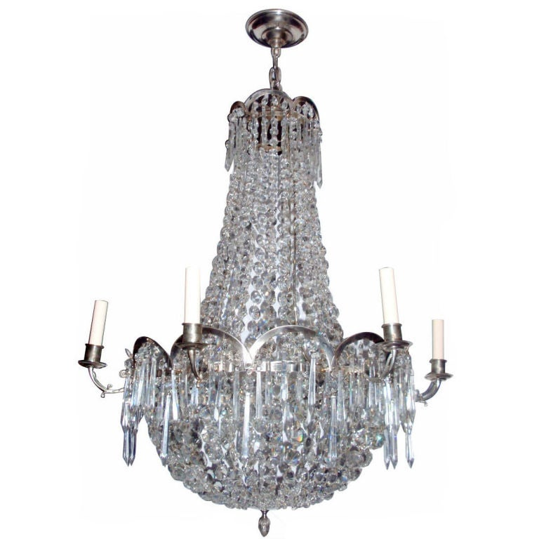 Silver Plated Chandelier with Crystal Drops at 1stdibs