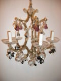 Gilt Metal and Crystals Light Chandelier