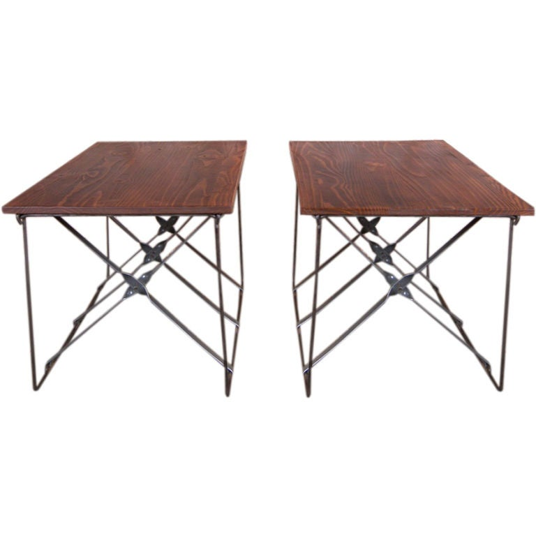 Pair of End Tables Vintage Industrial X-Base Wood and Metal Mid-Century Modern