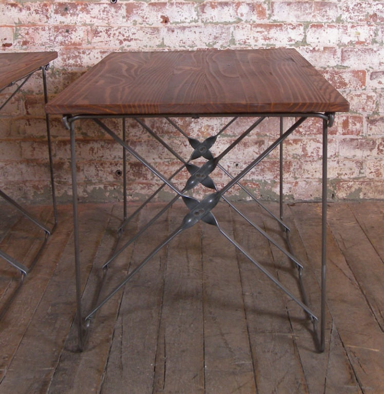 Vintage Industrial X-Base Wood and Metal Mid-Century Modern End Tables 3