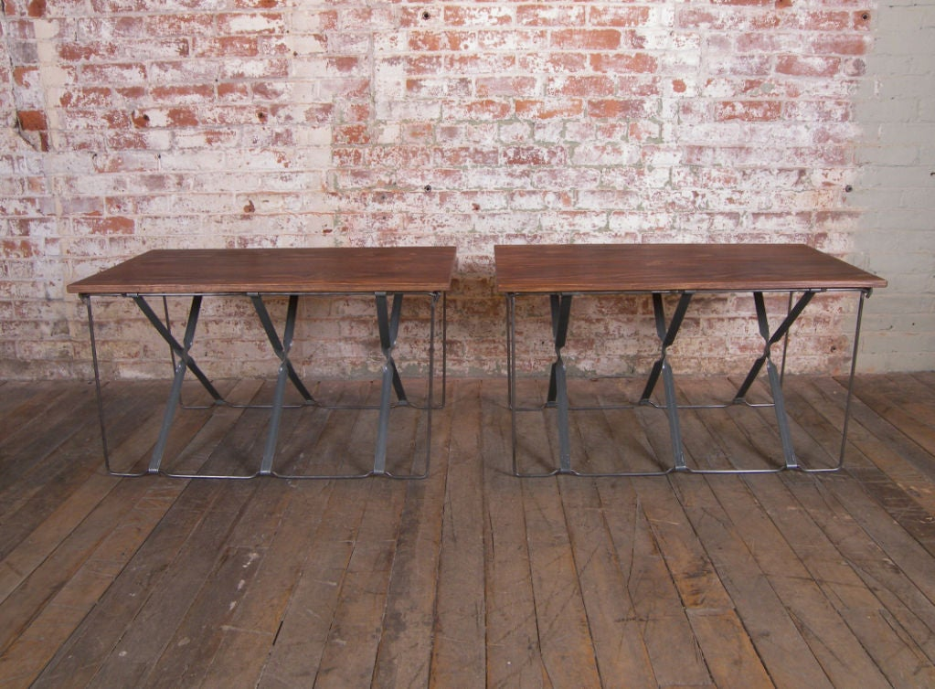 Vintage Industrial X-Base Wood and Metal Mid-Century Modern End Tables 4
